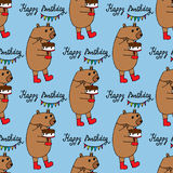 Seamless pattern with cute bear and birthday cake Royalty Free Stock Photography