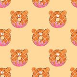 Seamless Pattern Cute Bear Donuts for Packaging , Print Fabric. Watercolor Hand drawn image Perfect for cases design, postcards, P royalty free illustration