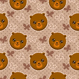 Seamless pattern with cute bear faces Stock Images