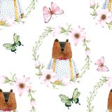 Seamless Pattern Cute Bear in Flower Wreath for Packaging , Print Fabric. Watercolor Hand drawn image Perfect for cases design, royalty free illustration