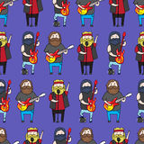 Seamless pattern with cute bearded men from a rock band Royalty Free Stock Photography