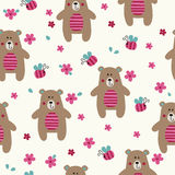 Seamless pattern with cute bears Royalty Free Stock Photography
