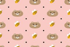 Seamless pattern with cute bears and bees Stock Image