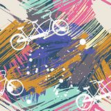 Seamless pattern with cute bicycles tandem on abstract watercolor stains, paint brushes freehand strokes.  Royalty Free Stock Images