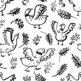 Seamless pattern with cute birds. Background with livestock pets. And floral elements. Vector illustration with plants and berries. Design elements for surface Royalty Free Illustration