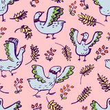 Seamless pattern with cute birds. Background with livestock pets. And floral elements. Vector illustration with plants and berries. Design elements for surface Vector Illustration