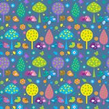 Seamless pattern with cute birds on a blue background Stock Photo