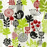 Seamless pattern with cute birds and flowers. Royalty Free Stock Images