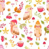 Cute birds seamless pattern. Seamless pattern with cute birds in hat and scarf and autumn plants. Autumn vector background for children Royalty Free Stock Images