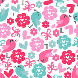 Seamless pattern with birds and hearts Stock Image