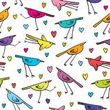 Seamless pattern with cute birds and hearts on white background. Stock Image