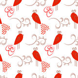 Seamless pattern with cute birds. Stock Image
