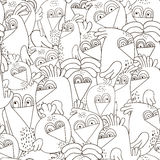 Seamless pattern with cute birds. Monochrome black and white texture with funny birds. Perfectly look on fabric,textile,web,etc. royalty free stock photo