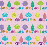 Seamless pattern with cute birds on a pink background Stock Image