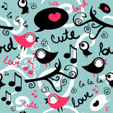 Seamless pattern with cute birds Royalty Free Stock Image