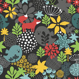 Seamless pattern with cute birds and small fox Stock Image