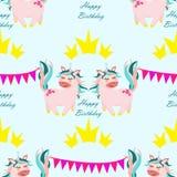 Seamless pattern unicorn with crown - vector, illustration, eps vector illustration