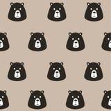 Seamless pattern cute black bear Stock Images