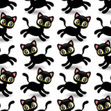 Seamless pattern with cute black kittens Royalty Free Stock Images