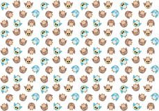 Seamless pattern with cute blue and brown owls on white Royalty Free Stock Images