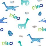 Seamless pattern with cute blue dinosaurs, eggs and dino letters. watercolor illustration for prints, templates, invitations, baby