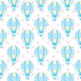 Seamless pattern of cute blue hot air balloon on polka dot background vector cartoon for kid wallpaper Royalty Free Stock Photography