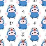 Childish seamless background with blue owls vector illustration