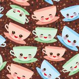 Seamless pattern Cute blue pink green Kawai cup, coffee tea with pink cheeks and winking eyes, pastel colors on brown polka dot ba. Ckground. Vector illustration Stock Photography