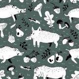 Seamless pattern with cute boars. Background with wild pigs and. Forest plants and fruits. Vector illustration with natural objects and forest inhabitants Royalty Free Illustration