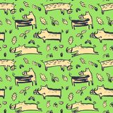 Seamless pattern with cute boars. Background with wild pigs and. Acorns. Vector illustration with natural objects and forest inhabitants. Colorful hand drawn Vector Illustration