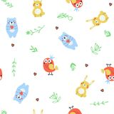 Seamless pattern with cartoon animals Royalty Free Stock Image
