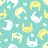 Seamless pattern with cute bunny emotions Stock Image