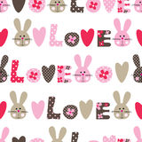 Seamless pattern with cute bunny, flowers and hearts Stock Photo