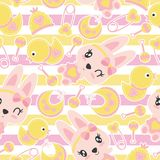 Seamless pattern of cute bunny girls and baby shower items on striped background. Cartoon illustration for baby shower wrapping paper, fabric clothes, and Stock Images