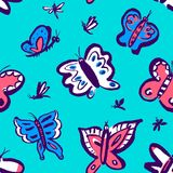 Seamless pattern with cute butterflies. Background with funny in. Sects in doodle sketchy style. Vector artistic illustration. Colorful hand drawn design element Stock Illustration