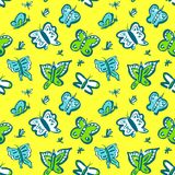Seamless pattern with cute butterflies. Background with funny in. Sects in doodle sketchy style. Vector artistic illustration. Colorful hand drawn design element Royalty Free Illustration
