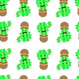 Seamless pattern with cute cactus and funny cartoon on white background royalty free illustration