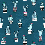 Seamless pattern with cute cactus and hand drawn textures.Perfect for fabric,textile.Vector background. Stock Photos