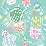 Seamless pattern with cute cactuses Stock Photo