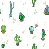 Seamless pattern with cute cactuses Royalty Free Stock Photography