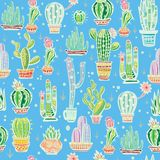 Seamless pattern with cute cactuses Royalty Free Stock Photos