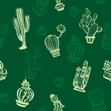 Seamless pattern with cute cactuses Stock Photography