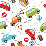 Seamless car cartoon pattern vector illustration. Seamless pattern with cute cars Royalty Free Stock Images