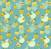 Seamless pattern with cute cartoon apple. With different emotions Stock Images