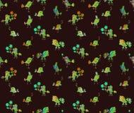 Seamless pattern with cute cartoon birds Royalty Free Stock Photo