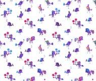 Seamless pattern with cute cartoon birds Stock Photo