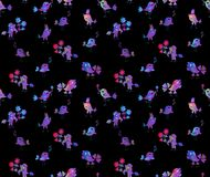 Seamless pattern with cute cartoon birds. Royalty Free Stock Photography