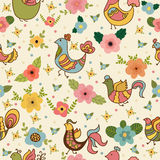 Seamless pattern with cute cartoon birds and flowers Royalty Free Stock Photography