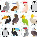 Seamless pattern Cute Cartoon birds set - gannet. Penguin toucan parrot eagle booby  on white background. Vector illustration Royalty Free Stock Photo