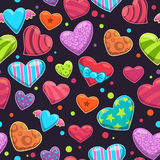 Seamless pattern with cute cartoon bright hearts Stock Photo